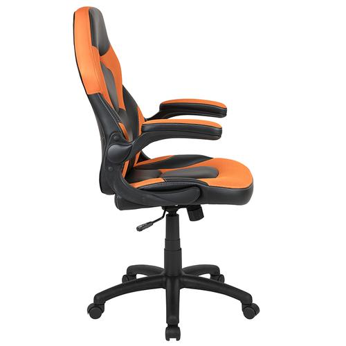 Gallery - X10 Gaming Chair Racing Office Ergonomic Computer PC Adjustable Swivel Chair with Flip-up Arms, Orange\/Black LeatherSoft