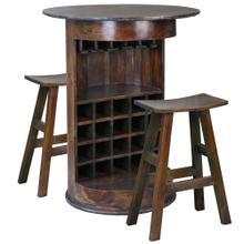 See Details - Barrel Bar with 2 Stools - Java Brown
