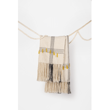 Black & Natural Woven Throw with Yellow Fringe