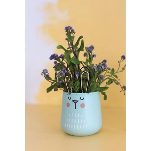 "3""x 4.75"" Turquoise Sunny Bunny Pot"