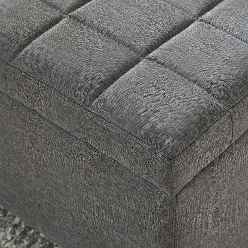 Lila Rectangular Storage Ottoman in Grey
