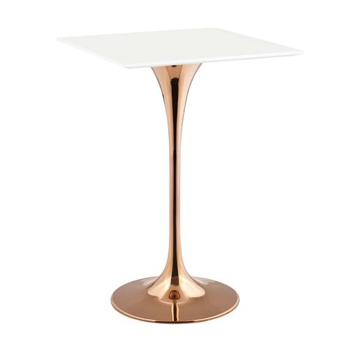"Lippa 28"" Square Wood Top Bar Table in Rose White"