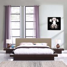 Freja 3 Piece Queen Fabric Bedroom Set in Cappuccino Latte