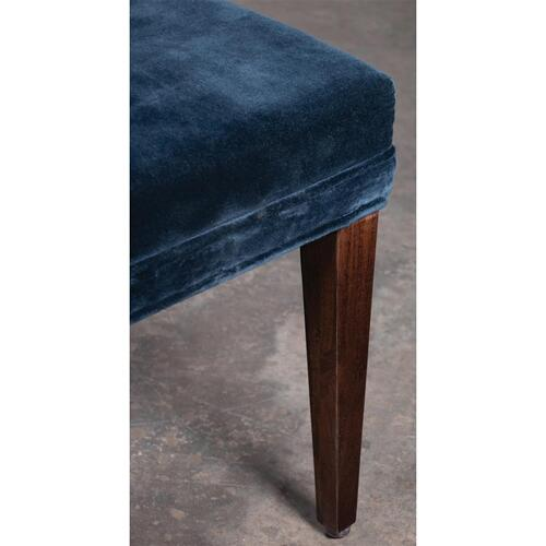 Mix-n-match Chairs - Navy Velvet Side Chair - Hazelnut Finish