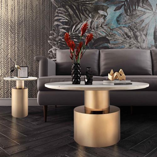 Tov Furniture - Terzo White Marble Side Table