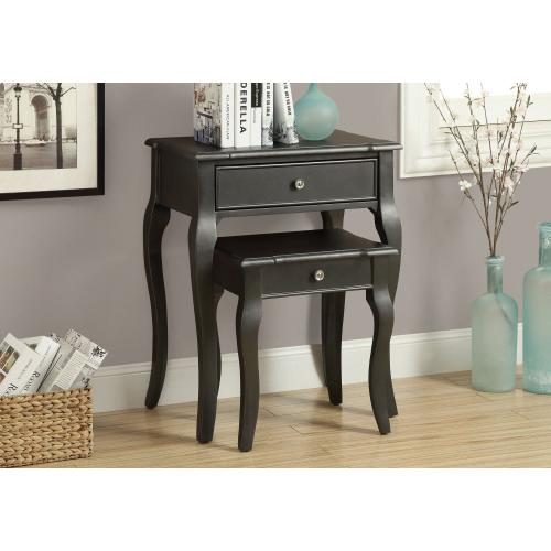NESTING TABLE - 2PCS SET / ANTIQUE BLACK VENEER