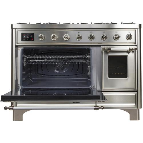 Product Image - Majestic II 48 Inch Dual Fuel Natural Gas Freestanding Range in Stainless Steel with Chrome Trim
