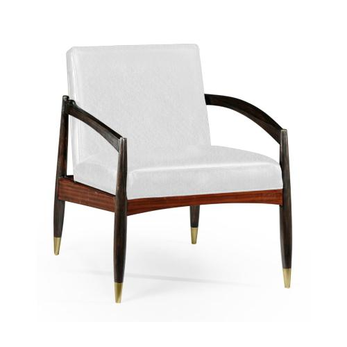 Contemporary Santos Rosewood & Ebonised Occasional Chair, Upholstered in COM