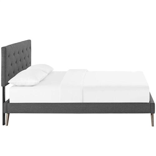 Tarah King Fabric Platform Bed with Round Splayed Legs in Gray