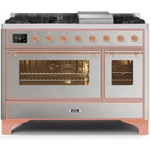 Majestic II 48 Inch Dual Fuel Natural Gas Freestanding Range in Stainless Steel with Copper Trim
