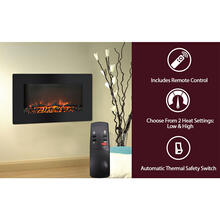 See Details - Cambridge Callisto 30 In. Wall-Mount Electric Fireplace with Flat-Panel and Realistic Logs, CAM30WMEF-2BLK