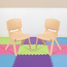 "2 Pack Natural Plastic Stackable School Chair with 10.5"" Seat Height"