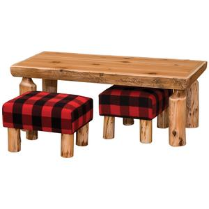 """Open Coffee Table with Two Footstools - 24"""" x 48"""" - Natural Cedar - Liquid Glass"""