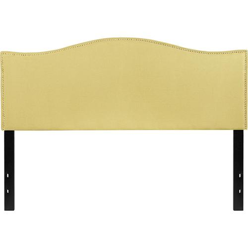 Lexington Upholstered Queen Size Headboard with Accent Nail Trim in Green Fabric