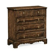 See Details - Linenfold dark oak chest of drawers