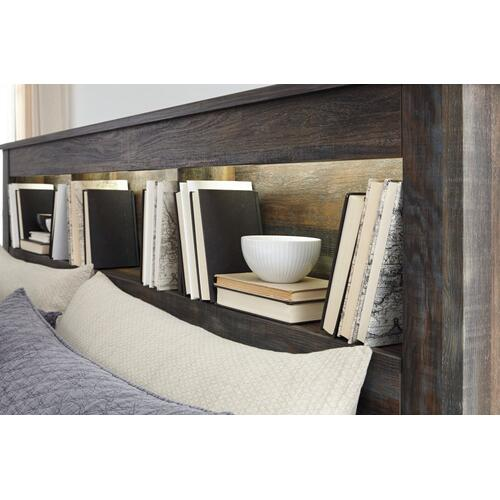 King/california King Bookcase Headboard With Mirrored Dresser, Chest and 2 Nightstands