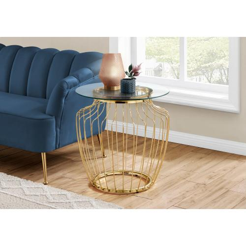 """Gallery - ACCENT TABLE - 24""""H / GOLD METAL WITH TEMPERED GLASS"""