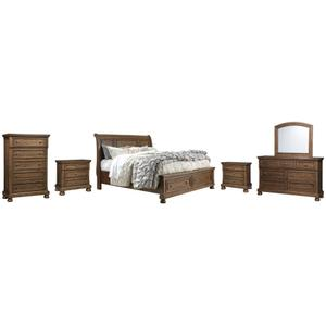 California King Sleigh Bed With 2 Storage Drawers With Mirrored Dresser, Chest and 2 Nightstands