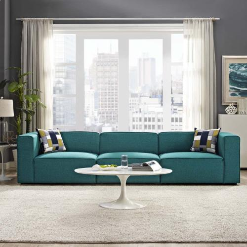 Mingle 3 Piece Upholstered Fabric Sectional Sofa Set in Teal