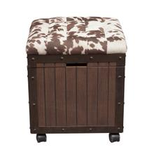See Details - Hair-on-Hyde Cushioned Top Accent Storage Ottoman