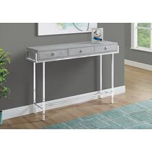 "ACCENT TABLE - 48""L / GREY CEMENT / CHROME METAL"