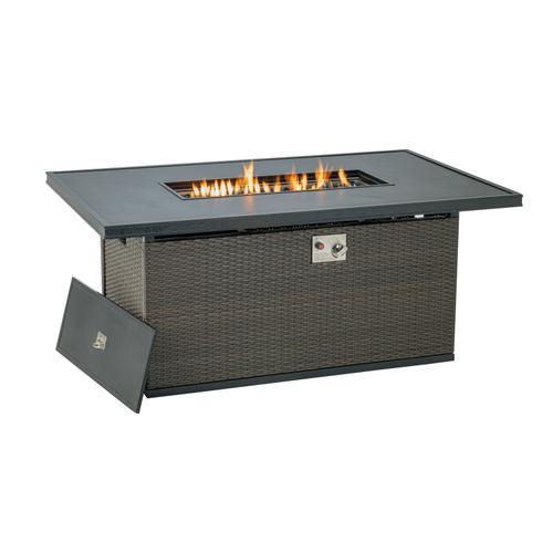 "Franklin 56""x36"" Rectanglular Wicker Cast Gas Fire Pit w/ GRC Table"