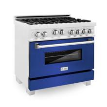 "ZLINE 36"" Professional 4.6 cu. ft. 4 Gas on Gas Range in DuraSnow® Stainless Steel with Color Door Options [Color: Blue Gloss]"