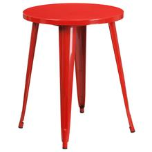"Commercial Grade 24"" Round Red Metal Indoor-Outdoor Table"