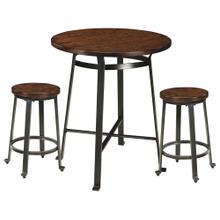 Challiman Counter Height Table & 2 stools Rustic Brown