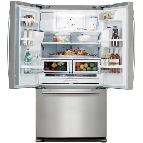 REFURBISHED 26 cu. ft. French Door Refrigerator. (This is a Stock Photo, actual unit (s) appearance may contain cosmetic blemishes.  Please call store if you would like actual pictures).  This unit carries our 6 month warranty, MANUFACTURER WARRANTY and REBATE NOT VALID with this item. ISI 42749