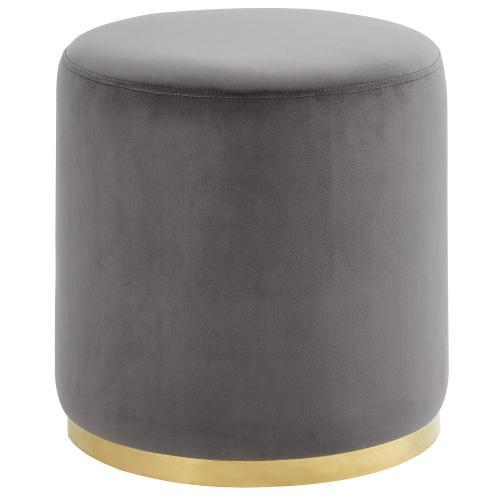 Sonata Round Ottoman in Grey/Gold