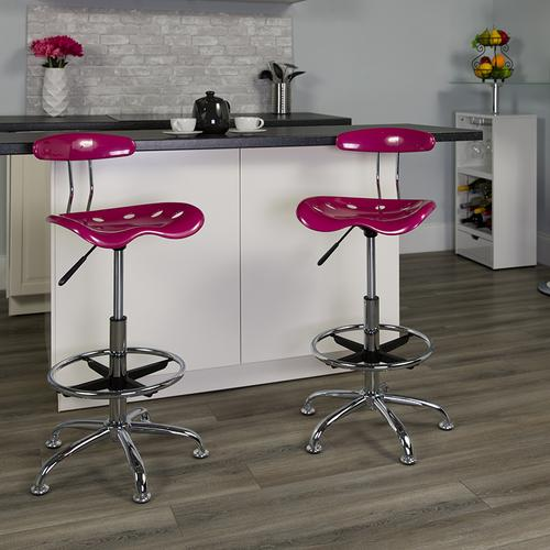 Flash Furniture - Vibrant Pink and Chrome Drafting Stool with Tractor Seat