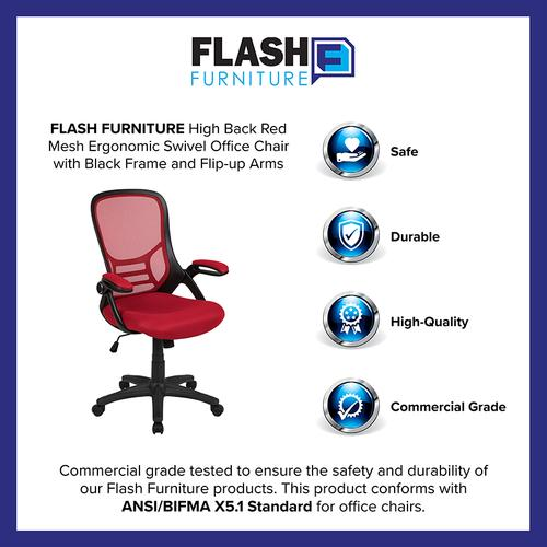 Flash Furniture - High Back Red Mesh Ergonomic Swivel Office Chair with Black Frame and Flip-up Arms