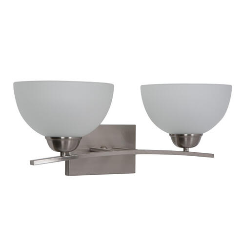 Alta Peak Collection 2-Light Vanity in Satin Steel