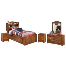 Twin Bookcase Bed With 2 Storage Drawers With Mirrored Dresser and 2 Nightstands