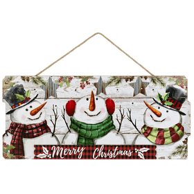 Light Up Merry Christmas Snowman Plaque