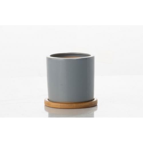 Loft Cylinder Petits Pots w/ unattached bamboo saucer - Grey