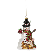 Snowman w/Deer Ornament