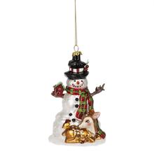 Snowman w/Deer Ornament