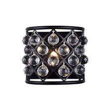 Madison 1 light Matte Black Wall Sconce Clear Royal Cut Crystal