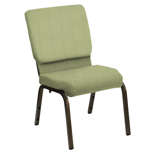 Flash Furniture - HERCULES Series 18.5''W Church Chair in Bedford Alfalfa Fabric - Gold Vein Frame