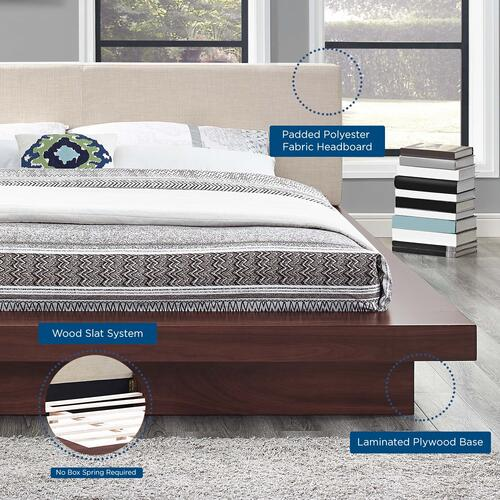 Modway - Freja Queen Fabric Platform Bed in Walnut Beige
