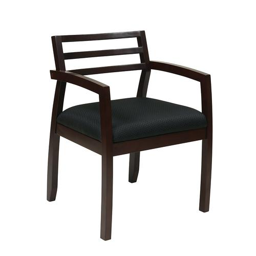 Napa Espresso Guest Chair With Wood Back & Black Fabric Seat