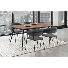 Messina and Nara Grey Faux Leather and Walnut 5 Piece Dining Set