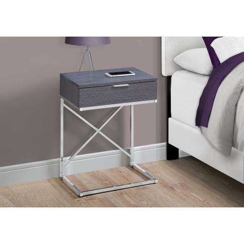 """Gallery - ACCENT TABLE - 24""""H / GREY / CHROME METAL"""