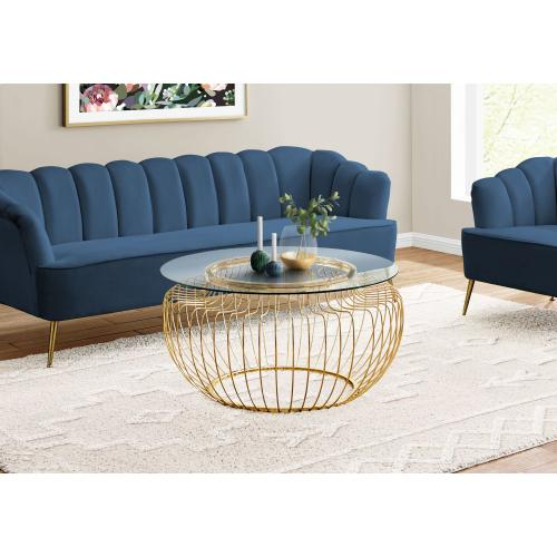 """Gallery - COFFEE TABLE - 36""""DIA / GOLD METAL WITH TEMPERED GLASS"""