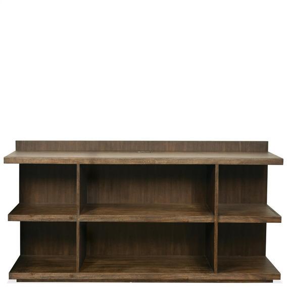Riverside - Perspectives - Peninsula Bookcase - Brushed Acacia Finish