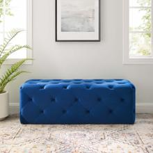 "Amour 48"" Tufted Button Entryway Performance Velvet Bench in Navy"