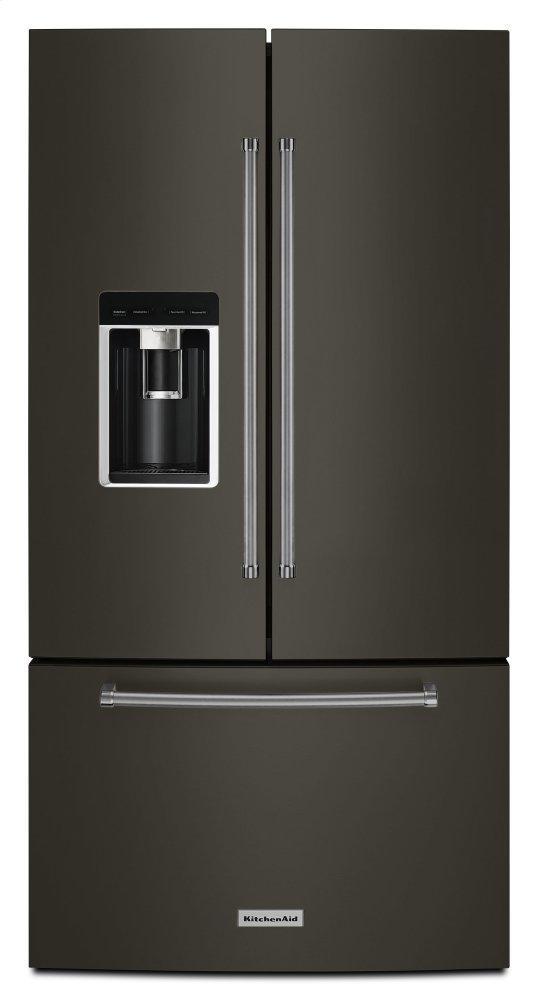 """Kitchenaid23.8 Cu. Ft. 36"""" Counter-Depth French Door Platinum Interior Refrigerator With Printshield™ Finish - Black Stainless Steel With Printshield™ Finish"""