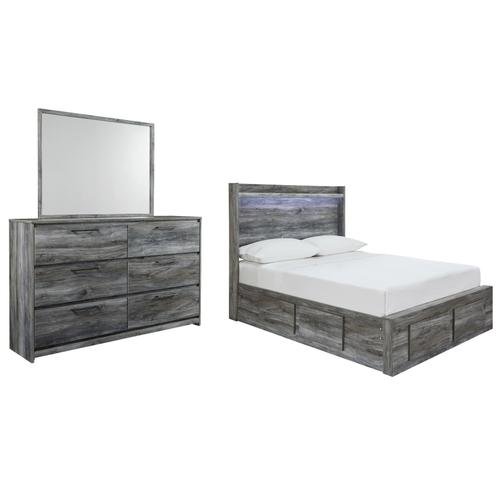 Full Panel Bed With 4 Storage Drawers With Mirrored Dresser